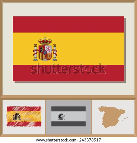National flag and country silhouette of Spain - stock vector