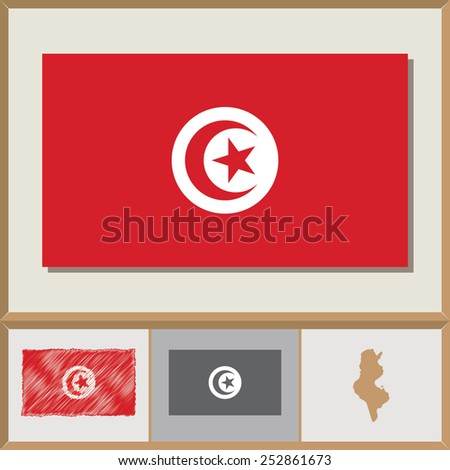 National flag and country silhouette of Tunisia - stock vector