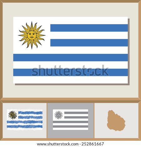 National flag and country silhouette of Uruguay - stock vector