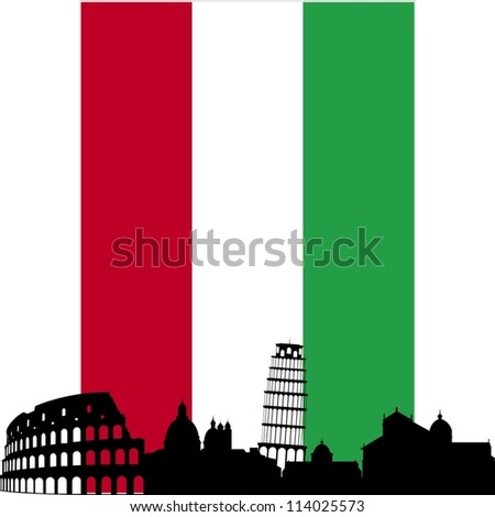 National Flag and the outline of buildings and architectural structures. The illustration on a white background. - stock vector