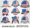 National flag badges set - stock vector