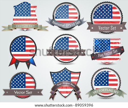 National flag badges set - stock vector