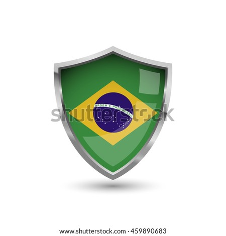 National flag of Brazil. Flag on the metal shield with glare. - stock vector