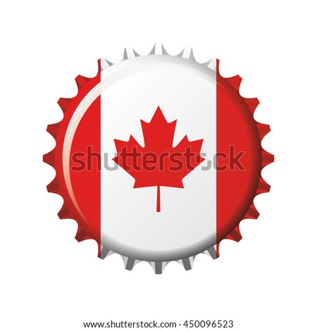 National flag of Canada on a bottle cap. Vector Illustration - stock vector