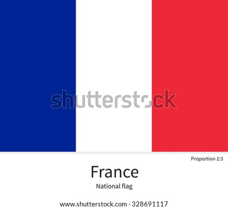 National flag of France with correct proportions, element, colors for education books and official documentation - stock vector
