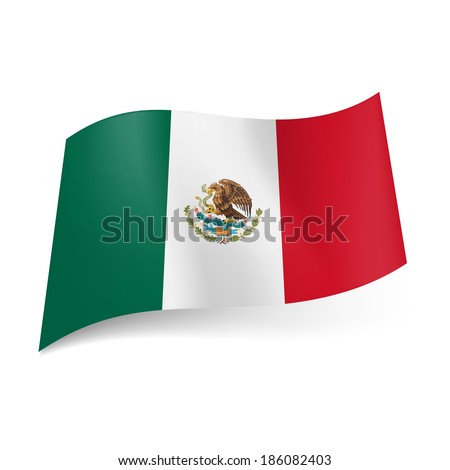 National flag of Mexico: green, white and red vertical stripes with coat-of-arms on central band. - stock vector