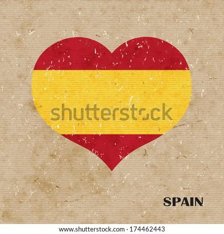 National flag of Spain. vector retro illustration. - stock vector