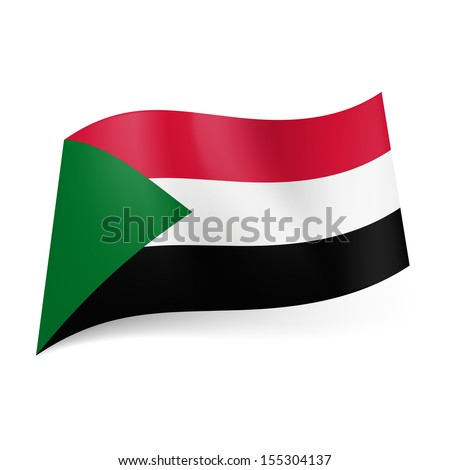 National Flag Green White Red National Flag of Sudan Red