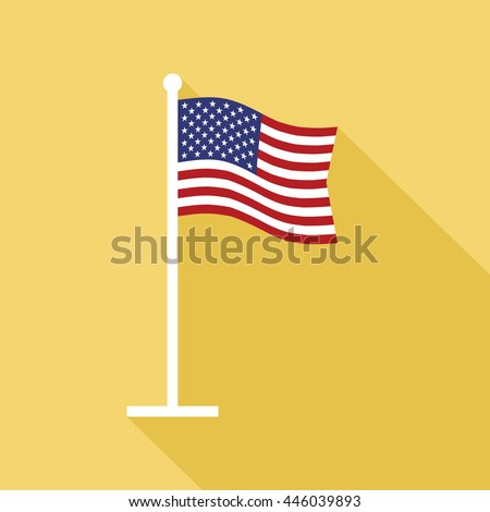 National flag of USA on flagpole flat icon. American flag on flagstaff. Symbol of star-spangled banner. Vector illustration in EPS8 format. - stock vector