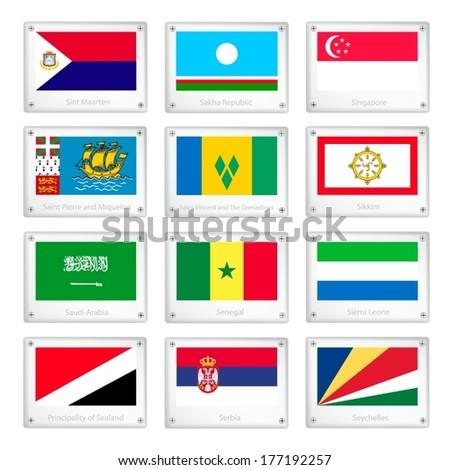 National Flags of Sint Maarten, Sakha, Singapore, Saint Pierre and Miquelon, Saint Vincent and The Grenadines, Sikkim, Saudi Arabia, Senegal, Sierra Leone, Sealand, Serbia and Seychelles.  - stock vector