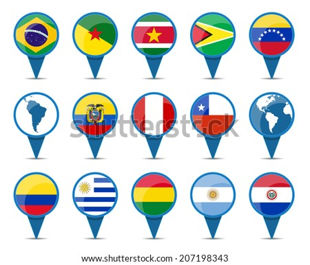 National flags of south America states in sign shape design - stock vector
