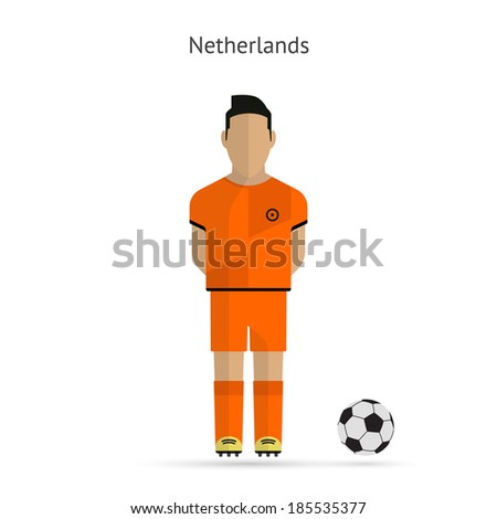 National football player. Netherlands soccer team uniform. Vector illustration. - stock vector