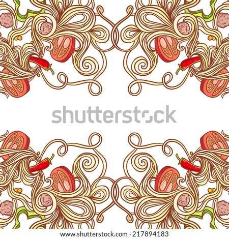 National picture background. Italian cuisine food with vegetables and curly pasta seamless elements for restaurant menu - stock vector