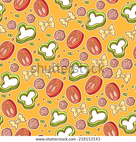 National picture background. Italian cuisine food with vegetables and curly pasta seamless elements for restaurant menu. Endless texture pattern - stock vector