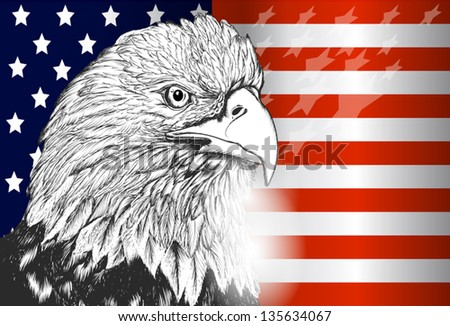 National symbol of USA flag and eagle - stock vector