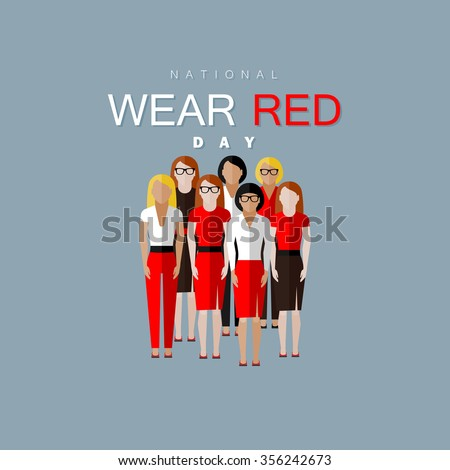 National wear red day. Vector flat illustration of women community wearing red clothes - stock vector