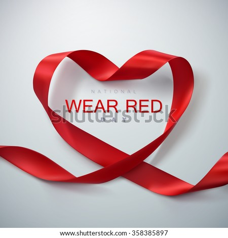 National wear red day. Vector illustration of ribbon heart. - stock vector