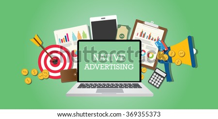 native advertising concept with marketing media and tools illustrated in laptop - stock vector