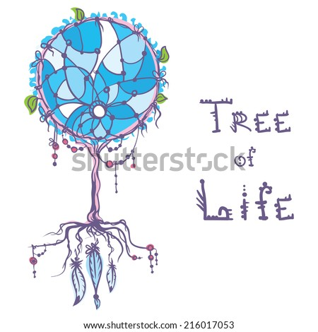 native american dream catcher tree of life concept - stock vector