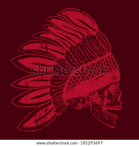 native american indian chief headdress (indian chief mascot, indian tribal headdress, indian headdress) t-shirt graphics - stock vector