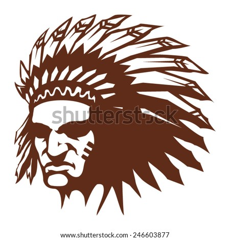 Native American Indian chief with feather headdress vector icon - stock vector