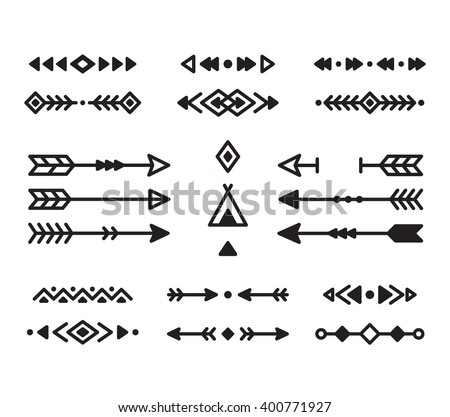 Native American Indian design elements set. Borders, arrows, ornaments ...