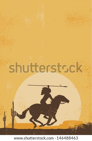Native american indian poster, vector - stock vector