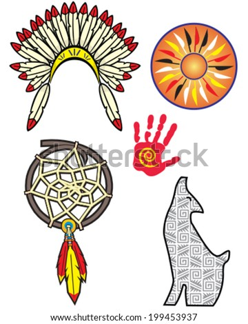 native american indian symbol set, vector - stock vector