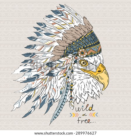 native American poster, eagle in war bonnet, t-shirt print - stock vector