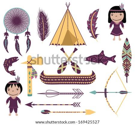 Native American Symbols - stock vector