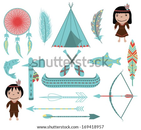 Native American Symbols and Clip arts on White Background - stock vector