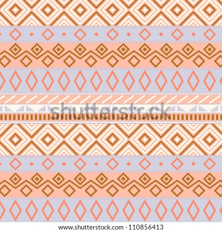 Native american traditional seamless pattern in pastel colors, vector - stock vector