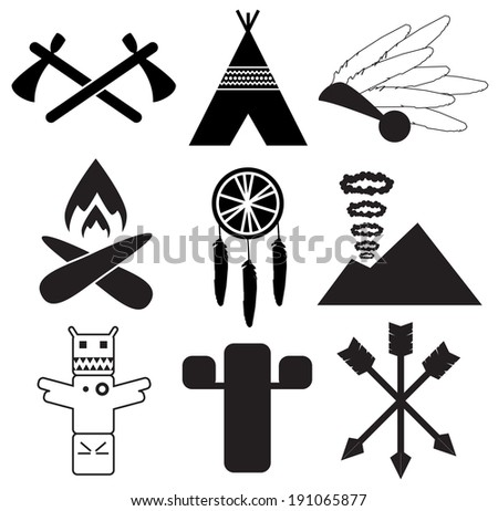 Native americans icons - stock vector