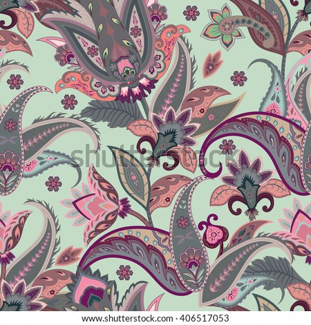 Native flowers seamless paisley pattern. Wrapping print. Stylized decoration wallpaper of India. Floral ornament, for fabric, textile, cards, wrapping paper, wallpaper.Ornamental paisley background - stock vector