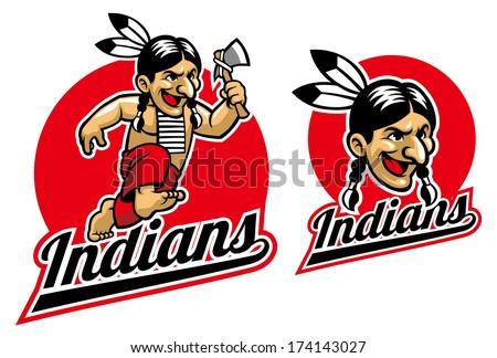 native Indian holding an axe - stock vector