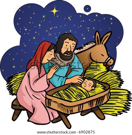 Nativity - baby Jesus - stock vector