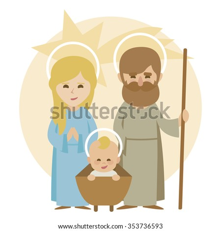 nativity scene Christmas Manger scene with figurines including Jesus, Mary and Joseph - stock vector