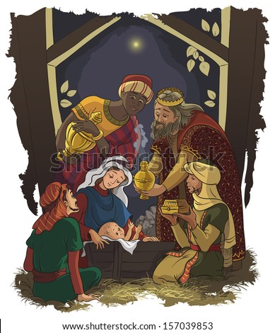 Nativity scene. Jesus, Mary, Joseph and the Three Kings - Three Wise Men in the manger. Also available raster and outlined version - stock vector