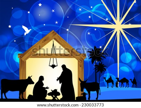 Nativity scene with holy family. EPS10  - stock vector