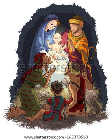 Nativity Scene with Jesus, Mary, Joseph and shepherds. Christian and Christmas theme. Also available outlined and raster version - stock vector