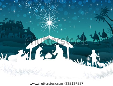 nativity scene with the Holy Family and the Magi of oriental landscape--transparency blending effects and gradient mesh-EPS10 - stock vector