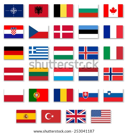 Nato Complete Button Flag Collection - stock vector