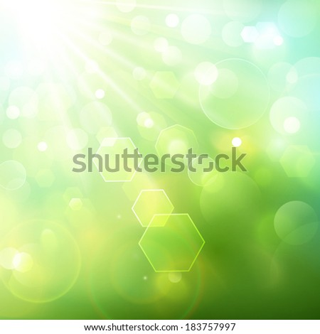 Natural background, bokeh effect - stock vector