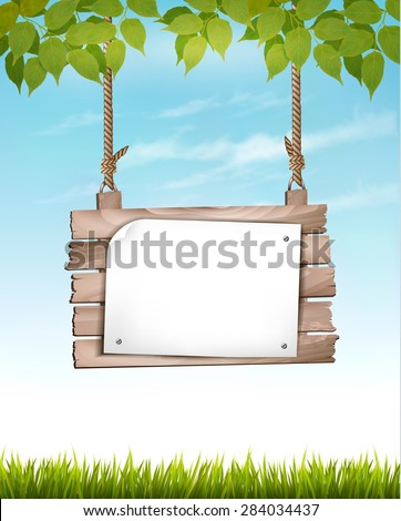 Natural background with leaves and a wooden sign. Vector. - stock vector
