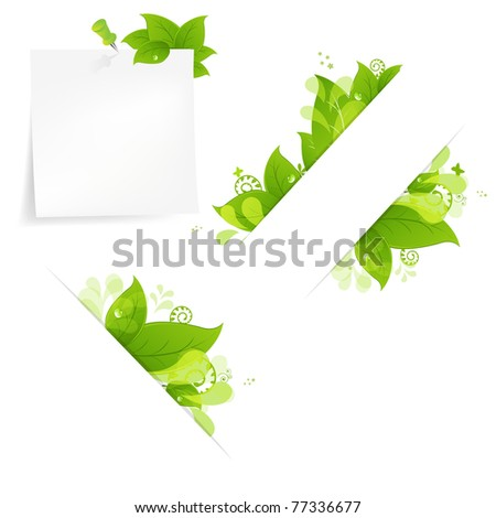 Natural Background With Leaves And Drops Set, Isolated On White Background, Vector Illustration - stock vector
