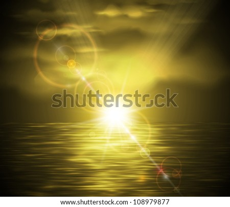 Natural background with sunset in sepia style. Eps 10 - stock vector