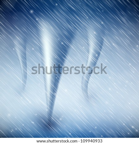 Natural background with tornado and rain. Eps 10 - stock vector