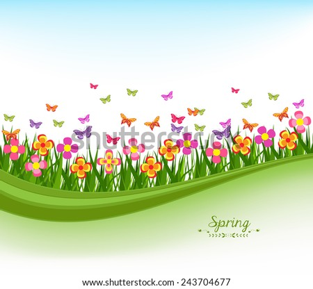 natural banners with flowes and blue sky - stock vector