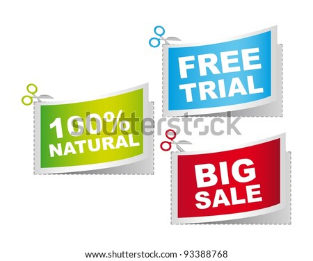 natural, big sale and free trail, vector illustration - stock vector