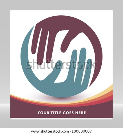 Natural caring hands design with copy space.  - stock vector
